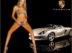 Fonds d'�cran Voitures Porsche + pin-up