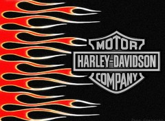 Fonds d'�cran Motos Flaming Harley