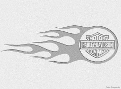 Fonds d'�cran Motos Logo Flaming Harley