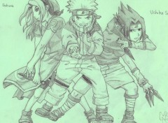 Fonds d'cran Art - Crayon Sakura, Naruto et Sasuke
