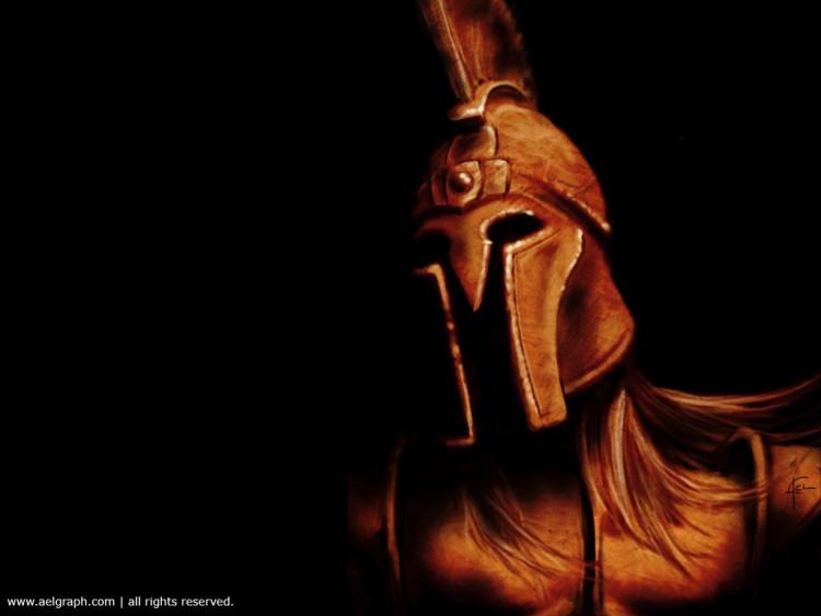 Ancient spartan warriors helmet
