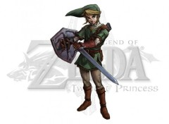 Fonds d'cran Jeux Vido Link sur logo Zelda Twilight Princess