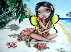 Fonds d'�cran Art - Crayon Akahi - Fee Hawaienne