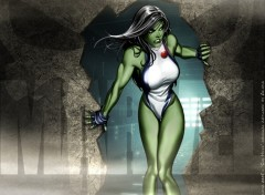Wallpapers Comics CIVIL WAR: Miss Hulk in Search & Destroy mode