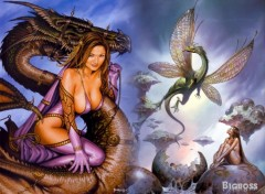 Fonds d'�cran Fantasy et Science Fiction femme dragon