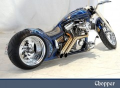 Fonds d'�cran Motos Chopper bleu