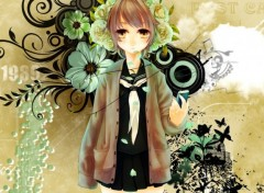 Fonds d'�cran Manga Girl - Ipod flower