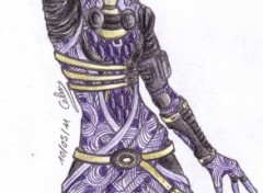 Fonds d'�cran Art - Crayon Tali'Zorah, Mass Effect 2 ( couleur )