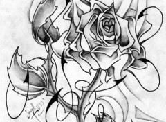 Fonds d'�cran Art - Crayon Rose N&B Tatoo