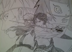 Fonds d'cran Art - Crayon Naruto vs Sasuke