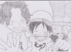 Fonds d'�cran Art - Crayon ace, luffy et sabo ;