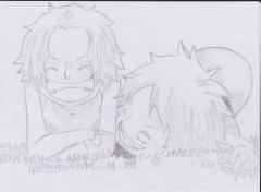 Art - Crayon Portgas D Ace et Monkey D Luffy