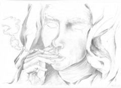  Art - Crayon femme qui fume !